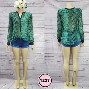 eight sixty small green snake print sheer blouse